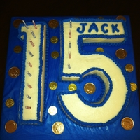 Number 15 Cake Sheet Cake cut and shaped into number 15. Iced in buttercream