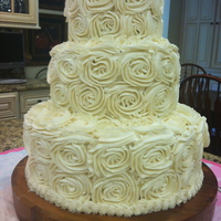 Rose Buttercream Wedding Cake Used large tip to make these swirl Roses.