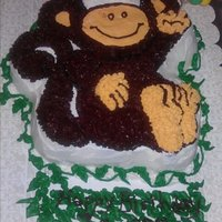 Monkey Cake Cake using Wilton character pan. Chocolate cake with chocolate buttercream icing.