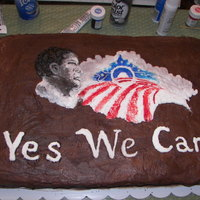 Obama Cake Picture not quite finished, but cake was made following his election to office.
