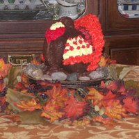 Turkey Cake Centerpiece cake made with Nordicware cake pan. Decorated with butter cream icing.