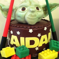 Star Wars Lego Cake Yoda head and lego blocks are RKT and all other decorations are fondant, this one was fun to make!