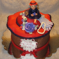 Red Hat Cake Chocolate Cake with red and purple fondamt