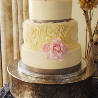 Buttercream Rosette Wedding Cake Gumpaste Flowers   Buttercream rosette wedding cake. Gumpaste flowers.