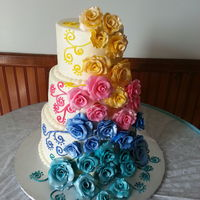 Gumpaste Roses In Brides Colors Very Colorful Bride   Gumpaste roses in brides colors. Very colorful bride!