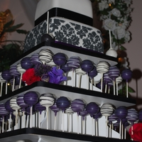 Damask Wedding Cake/cake Pop Display   Black/Plum/White Cake & Cake Pop Display Damask print stenciled on to cake