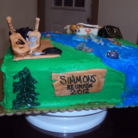 Simmons Family Reunion Cake 2012  I made this cake for our annual family reunion. I tried to represent the things that make our family what it is. We are hunters, campers,...
