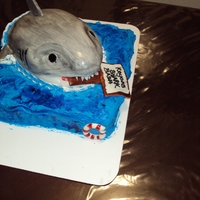 Shark Bash Cake   My first shark cake. It was for a little boy so it couldn't be to scary. It was red velvet cake, cream cheese frosting with mmf.