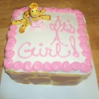 It's A Girl   Giraffe girl baby shower cake