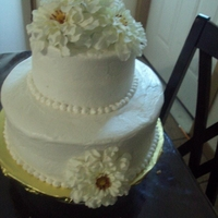 Last Minute Wedding Cake   A buttercream vanilla cake with silk flowers,,,a rushed last minute cake