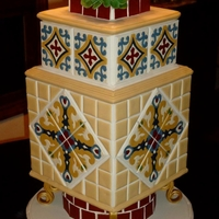Catalina Tile Cake Three tier cake covered with Catalina tiles (circa 1920's). These tile replicas were crafted from fondant and piped and filled with...