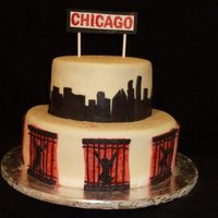 "Chicago Cake A cake I made for the cast and crew of my kids high school musical ""Chicago"". The cake is marble, iced with BC and covered with..."