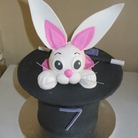 Magicians Hat And Bunny Rainbow cake with buttecream and fondant. Bunny's head was made of RCT.