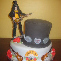 Slash Quincenera For A Rocker Girl! May 2010 - 15's birthday for a Slash fan. The top hat is chocolate cake with chocolate bc, covered in fondant. The base cake is almond...