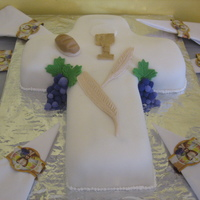 Boy's First Communion Cake May 2007 - My son's 1st communion. Vanilla cake & bc, covered in fondant with fondant decorations.