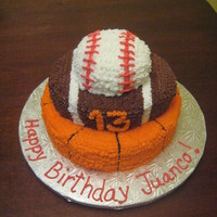 Sports Fan Birthday Cake. June 2010 - Teens 13th birthday wanted his favorite sports. All vanilla.