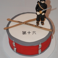 Ninja Drum Cake Made this for a boy's 16th birthday. The birthday boy loves drums (this drum was made to replicate the drum set he has) and loves...