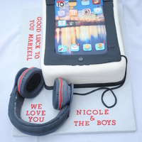 I Pad Cake Made for a husband's going away party. He loves tech gadgets (I Pad) and music (he has these specific head phones). So the wife wanted...