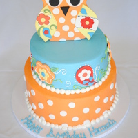 Owl Cake This was made to match the birthday girl's favorite dress (made by Kelly's Kids). Owl was fondant with Popsicle sticks on the...