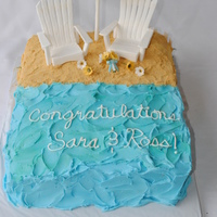 Beach Wedding Made this cake for a couple's wedding shower. They were getting married on the beach in NC. The wedding colors were blue and yellow...