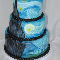 Van Gogh's Starry Night Made this cake for an elementary school's art show. Cake covered in fondant and the Starry Night scene is hand painted. Fun to make!