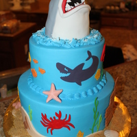 Shark Cake shark is RKT, buttercream with fondant details, creatures are cut out of cricut