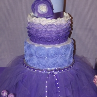 Purple Passion All BC with fondant accents, gumpaste rose