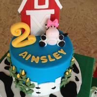 Farm Birthday buttercream coated with fondant details