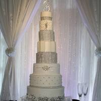 8 Tier Diamond Beauty All bc with diamond banding, lace ribbon, diamond sparkle broach and cake topper!