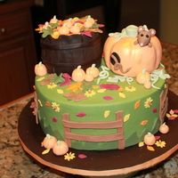 Harvest Cake buttercream with fondant details...pumpkin and basket are RKT with fondant covering and luster dust