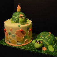 Baby Turtles Baby's First Birthday Turtle on top of cake is RKT larger turtle is the baby smash cake