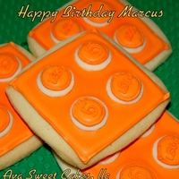 Lego Cookies Cookies I made for my son's class for his birthday. I made them orange because that is his favorite color but after I finished them he...