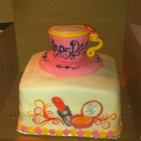 Spa And Tea Party   Cake for a little girl who had a spa and tea party. Tea cup is made from RKT