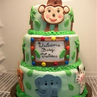 Lil' Monkey   red velvet w/cream cheese bottom. White top 2 with butter cream. All hand made details