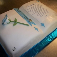 Birthday Book Of Poems   white cake with rose bookmark and butterfly
