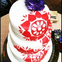 Indian Inspired Wedding Cake   The design was inspired by the couple's wedding invitation design - it's an Indian alpana.