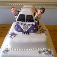 Campervan Wedding Cake Made this cake for a friends' wedding, the van was carved from a sponge cake, and the characters were modeled to look like the bride...