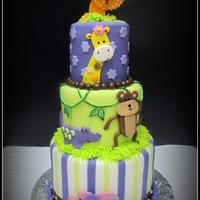 Jungle Themed Baby Shower Cake I made this cake to match the baby bedding. Sizes are 8, 6, and 4. Super cute!!! TFL!