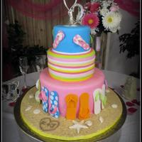 Fun Beach Theme Wedding Cake I made this cake for a couple who were married on the beach and had a reception a few months after they returned home. At first they wanted...