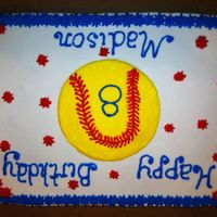 Softball Birthday Cake All buttercream