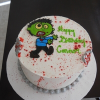 Zombie Themed For my son that turned 9 yesterday. He wanted zombies and ice cream cake . red velvet cake with red velvet ice cream. he LOVED it .