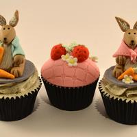 Peter Rabbit Themed Cupcakes vanilla oreo cupcakes with oreo italian meringue butter cream. hand sculpted 3d bunnies in fondant