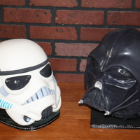 Darth Vadar And Storm Trooper 6Th Birthday Cakes For Twins Darth Vadar and Storm Trooper 6th Birthday cakes for twins.