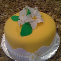 Happy Birthday! carrot cake with buttercream covered in fondant. flowers are fondant and gumpaste. made for a friend turning 50..