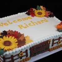 Fall Inspired Welcome Cake   1/4 Sheet Vanilla Cake with Vanilla Buttercream. All accents are made with fondant