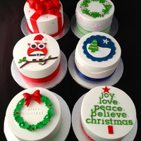 "Mini Christmas Cakes Trying out cake designs for this year. 4"" mini fruit cakes."
