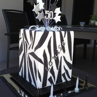 "Zebra Cake Double barrel 6 "" square cake for friends birthday. Bottom tier is caramel mudcake and top tier white chocolate citrus mudcake. Design..."
