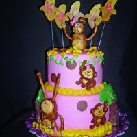 Gymnastics Monkey Cake Monkey gymnastics cake!! This cake was for a little girl turning 7 that loves monkeys & gymnastics. The monkey on top of the cake is...