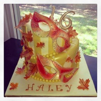Fall Masquerade Ball Cake For Sweet 16  Fall Masquerade Ball Cake for Sweet 16. Birthday girl asked for a cake for her Masquerade Ball Sweet Sixteen with fall leaves and fall...