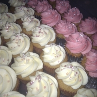 Cupcakes Pink And White pink and white buttercream topped vanilla cupcakes